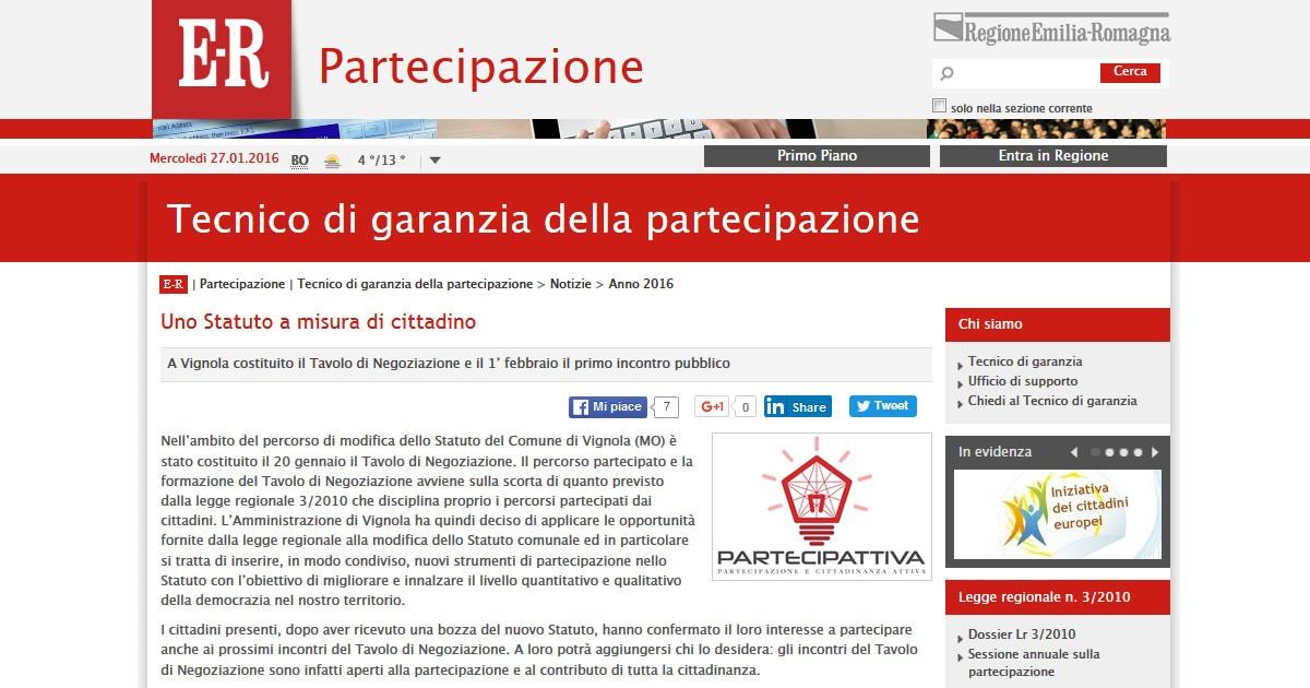 Partecipattiva sul sito della Regione Emilia Romagna