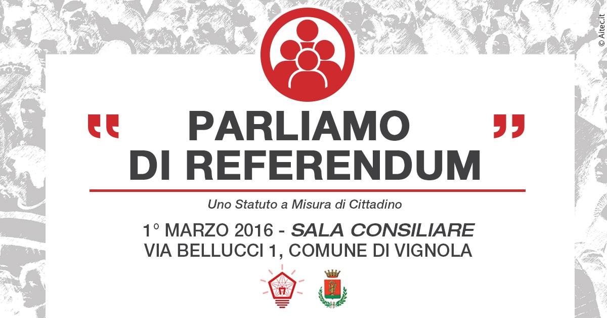 Partecipattiva - parliamo di referendum - secondo incontro pubblico della città di Vignola